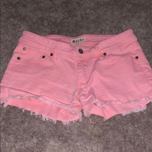 Roxy cutoff Jean shorts! Gorgeous color coral